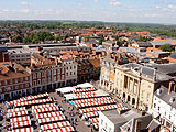 Newark Market place. View of the market place & town hall, taken from the tower of Newark parish church.