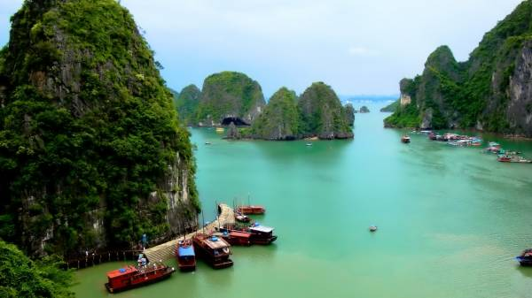 View from the above of the Ha Long Bay
